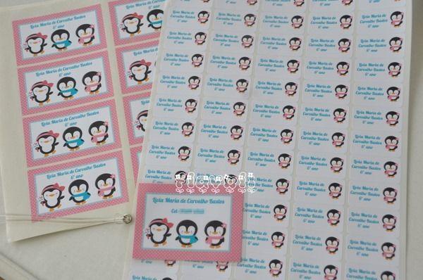Kit escolar Pinguins  :: flavoli.net - Papelaria Personalizada :: Contato: (21) 98-836-0113 - Também no WhatsApp! vendas@flavoli.net
