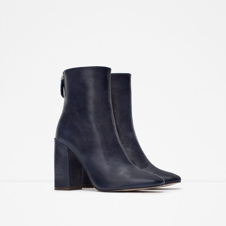 LEATHER ANKLE BOOTS WITH BLOCK HEEL-Boots and ankle boots-Shoes-WOMAN   ZARA United Kingdom