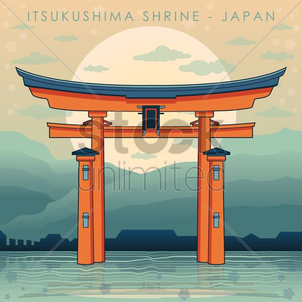 itsukushima shrine vector graphic