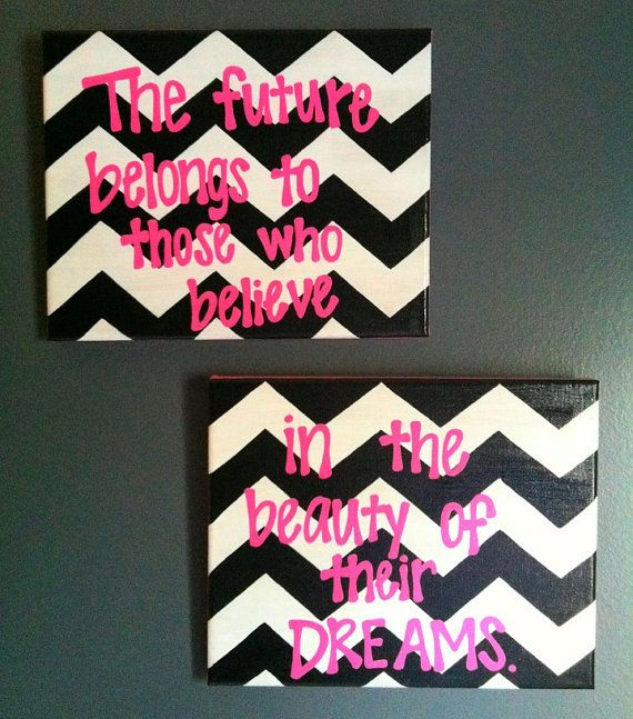 Chevron & Pink Double Canvas Quote Painting on Etsy, $25.00