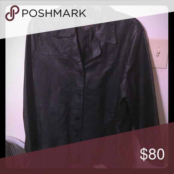 Leather coat Woman's Leather coat in black with pockets . Uniform John Paul Richard Jackets & Coats