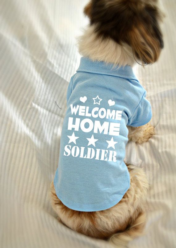 Welcome Home Soldier Dog Polo T-Shirt. Puppy Dog Shirt. Cute Dog Quotes. Puppy Small Pet Clothes. Welcome Home Design.