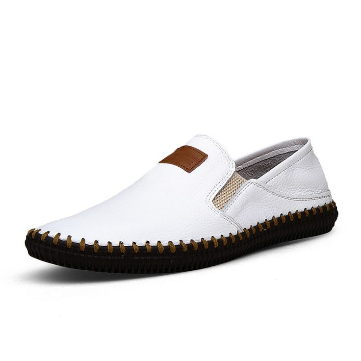 Fashion Mens White Loafers Genuine Leather Casual Chaussures 2015 Mens Shoes Loafers Size 38 to 44 Black Dark Blue Brown
