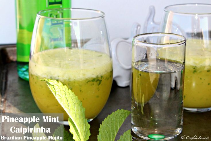Pineapple Mint Caipirinha Brazilian Pineapple Mojito Refreshing drink from Brazil, a combination of sugar, pineapple, mint, and Cachaça (a Brazilian rum)