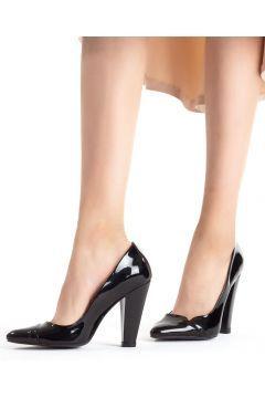 Erb Siyah Rugan Bayan Kalın Topuklu Ayakkabı
