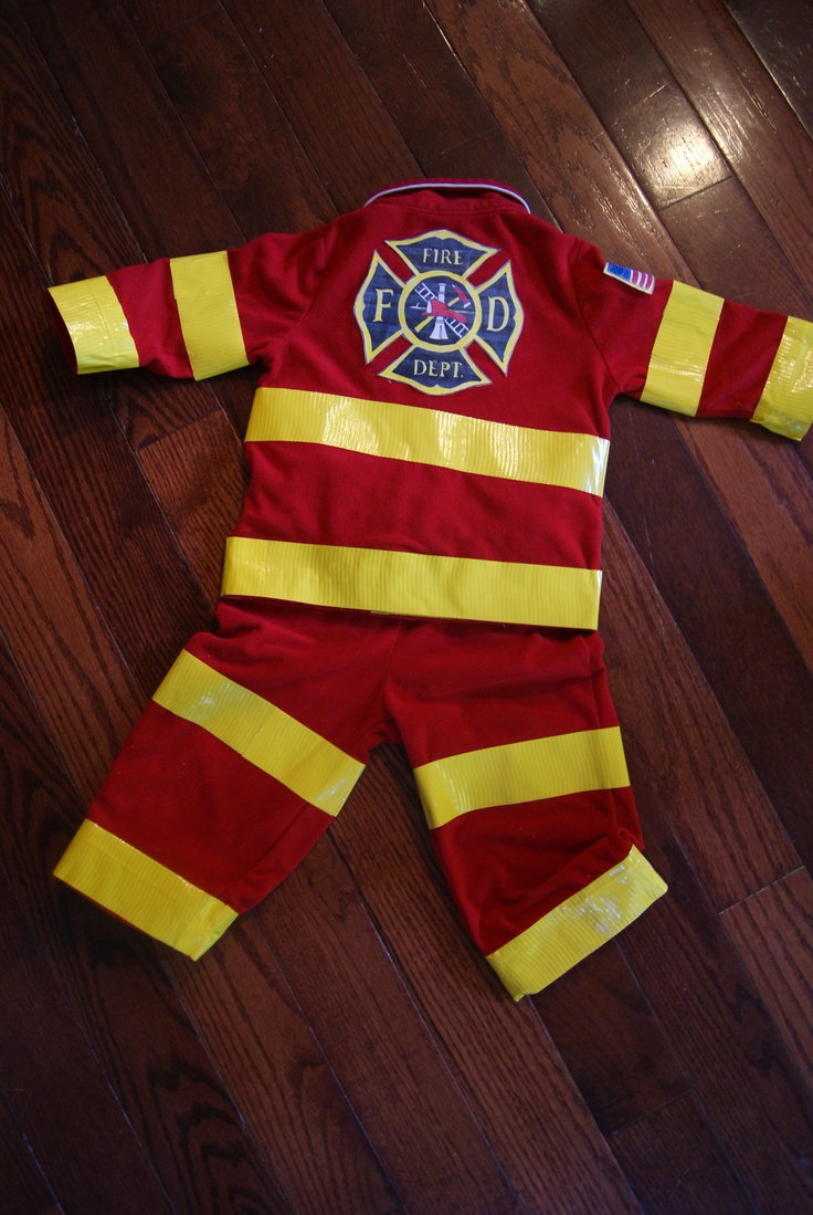 I made this fireman outfit for my son yesterday. Easy peezy! ***flannel red pjs, yellow duct tape, printer paper to draw image....laminate or cover with scotch tape, and then attach to fabric using fabric adhesive tape. Cheap and cute for Halloween.