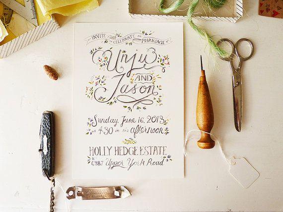 Jardin rustique mariage, Invitations de dessiné main, simple face sans portrait