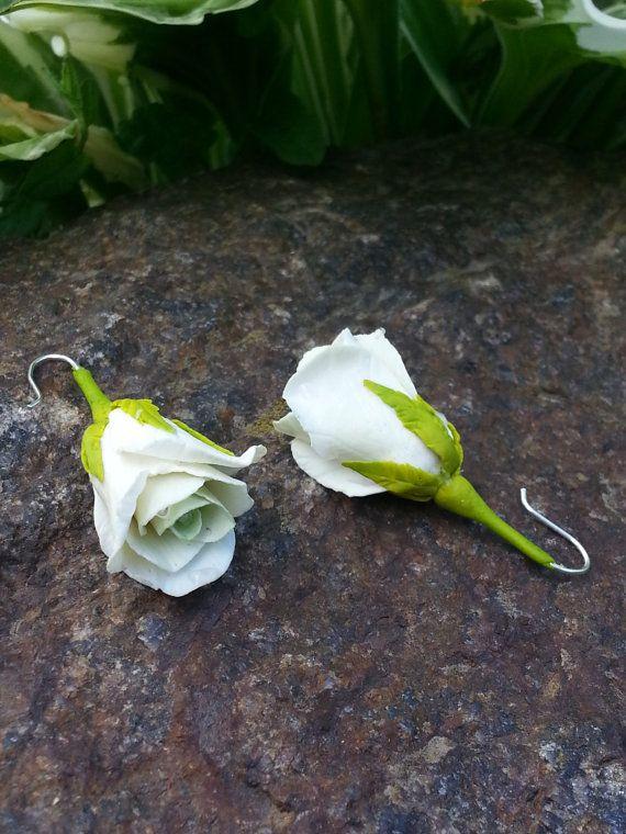 Coloured Drop Earrings  Rose Drop Earrings   by Jewelrylimanska