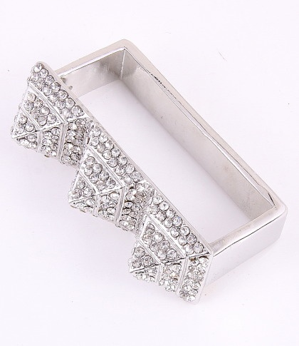 "Stretch Ring / surface 2.4""Lx0.75""W / rhinestone / silver color / lead & nickel compliant      $15.75"