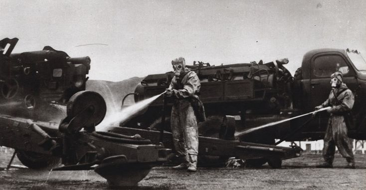 Military equipment of the Albanian People's Army undergoing chemical decontamination.