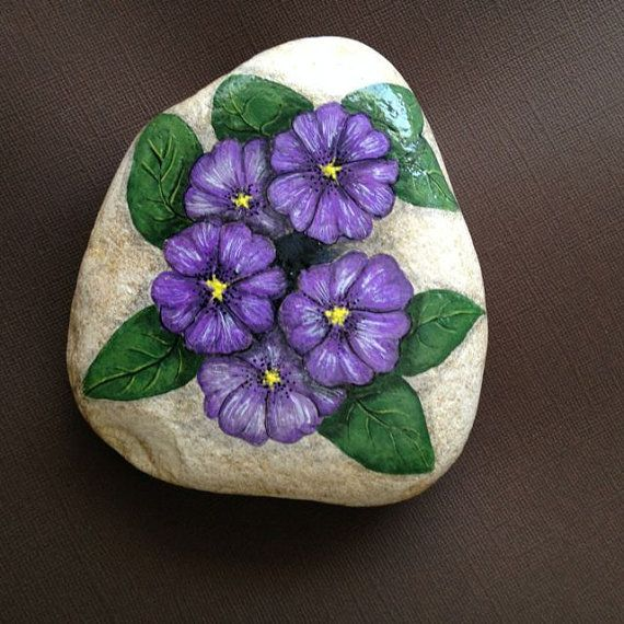 Hand Painted rock of purple, violet primrose flowers
