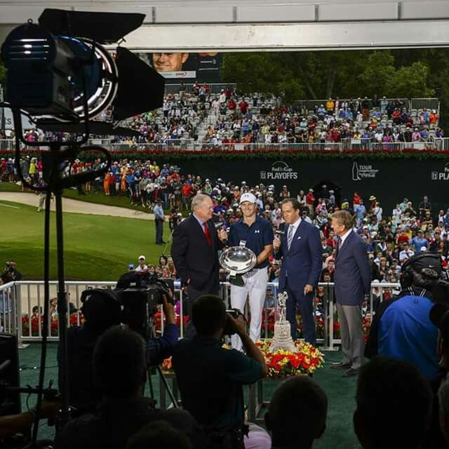 Jordan Spieth wins it all!  Tour championship and Fed Ex Cup.  Wins over $22 million this year, his age!  Probably will also get Player of Year 2015.  He has won five times, including two majors!