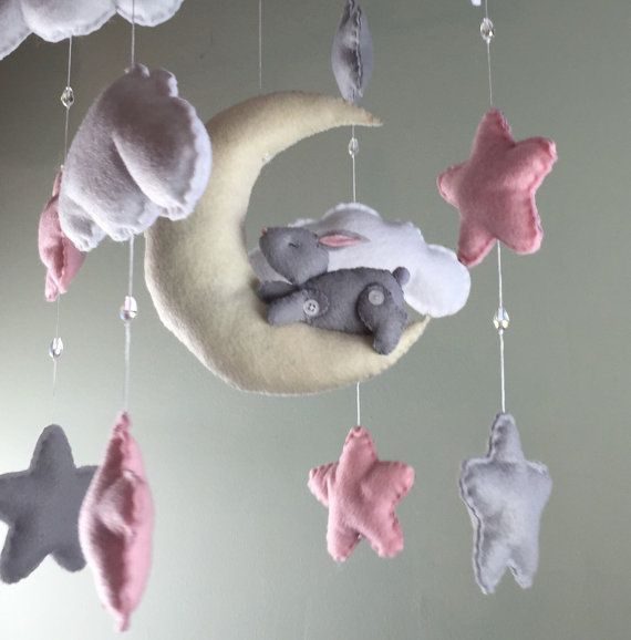 Baby mobile-bunny mobile-pink mobile-cloud by MaddiesHats on Etsy