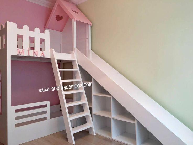 Kaydıraklı evli ranza, montessori çocuk odası