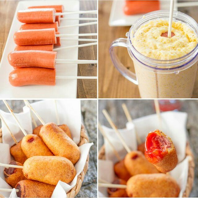 Homemade mini corn dogs - INGREDIENTS: 6 hot dogs cut in half - 12 lollipop sticks - vegetable oil for frying - ½ cup all-purpose flour - ½ cup cornmeal - 2 tbsp sugar - 2 tsp baking powder - ½ cup to ¾ cup milksalt and pepper to taste
