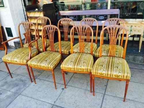 antiguo juego de 6 sillas y 2 sillones thonet en tela