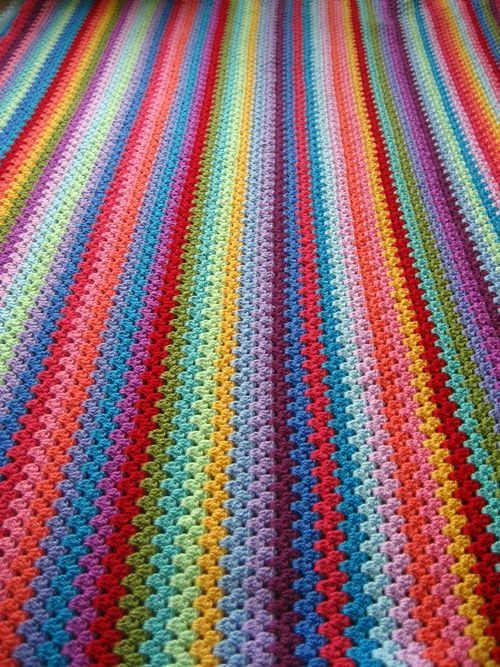 Another view of Lucy's Granny Stripe Blanket with link to pattern