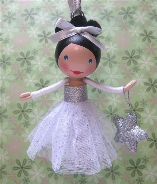 Clothespin Doll Christmas Tree Ornament -