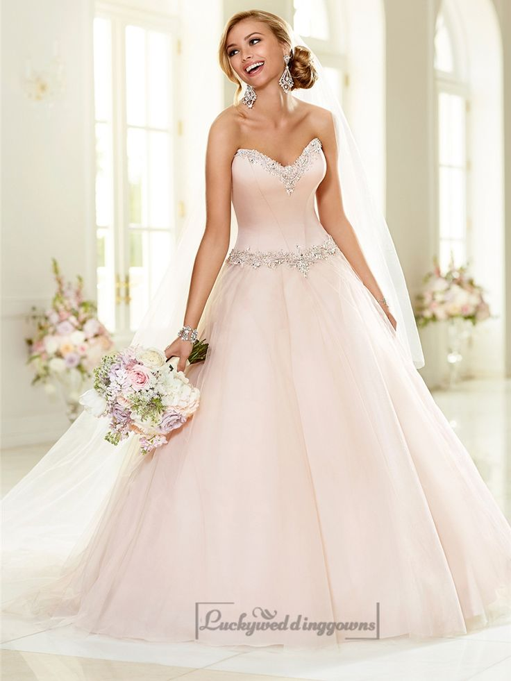 Elegant Beaded Sweetheart Neckline  Ball Gown Wedding Dresses