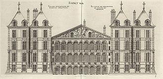 Philibert Delorme : Château de St-Maur fin 16°s. Il réalise pour Henri II le chateau de StMaur dont il ne reste rien et qui était un manifeste de la Renaissance française. C'était un quadrilatère inspiré des villas italiennes qui a été plus ou moins achevé en 1544. Ce chateau suscite l'intérêt et Delorme attire l'attention du roi. Delorme multiplie les les chantiers, et de 1545 à 1557, tous les chantiers importants l'on vu passer ou ont été dirigés par lui.