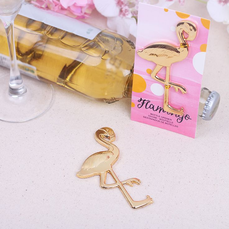 ideas for beach wedding party favors%0A Kate Aspen u    s Fancy and Feathered Flamingo Bottle Opener is a versatile favor  that is sure to delight guests at your special occasion