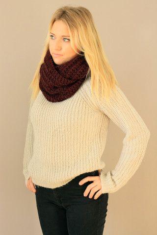 Burgundy Chunky Crochet Infinity Scarf. Fall Scarves Handmade. Miyuki Crochet Montreal