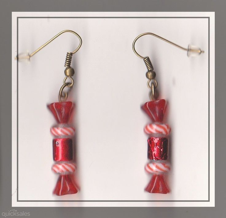 Christmas Bon Bon Glass Bead Bronze Dangle Earrings  by MadAboutIncense - $12.50