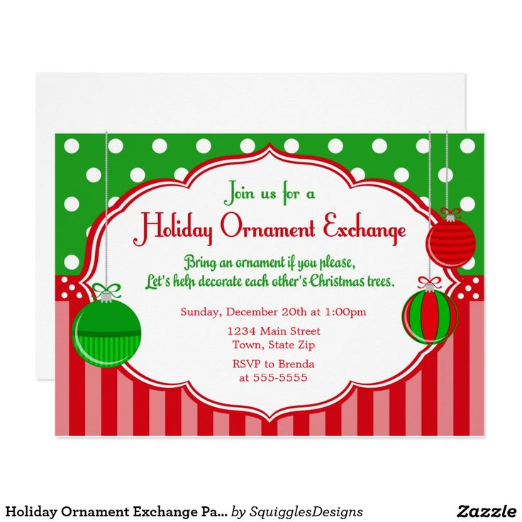 967 best christmas party invitations images on pinterest christmas holiday ornament exchange party invitation stopboris Gallery