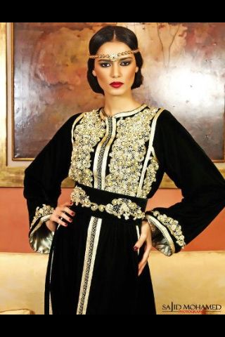 Very chic black velvet caftan with gold embroidery and gold sfifa edging