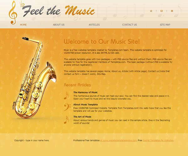 Feel the Music Website Template