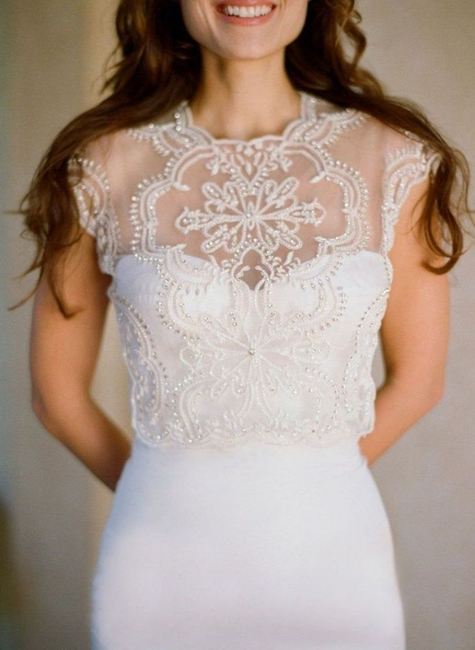 Beaded wedding dress bolero #wedding #dress #fashion