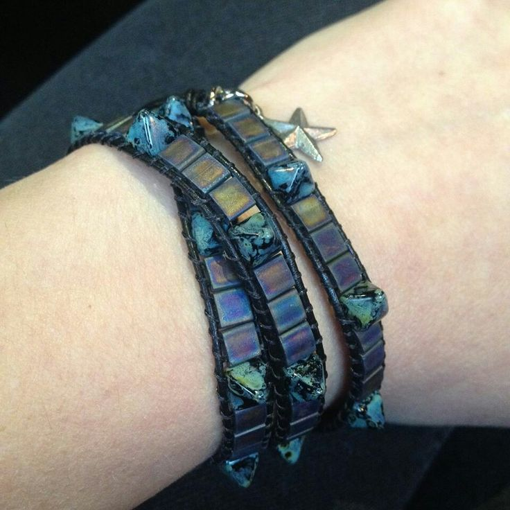 Black leather wrap.