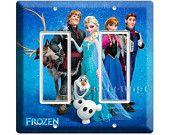frozen Princess Anna Elsa Hans Olaf Kristoff double GFI decora light switch cover wall plate childrens bedroom living boys girls room