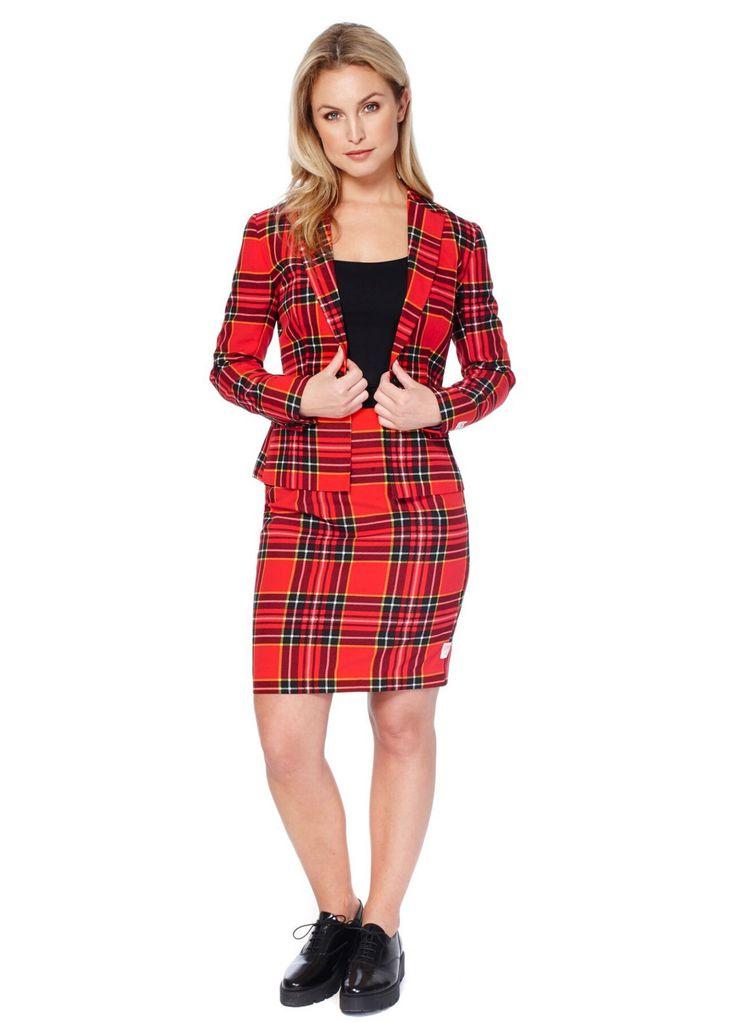 Costume Mrs. Tartan rouge écossais femme Opposuits™ : Cet Opposuits™ écossais pour femme se compose d'une veste et d'une jupe (haut et chaussures non inclus). L'ensemble est fait dans un beau tissu en tartan écossais. La...