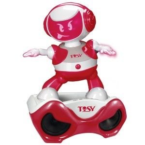 TOSY Robotics: DiscoRobo Toy with Voice and Sound Stage-Red The speaker is cool, as internal memory included. People clap their hands, knock on the table to make it dance. http://awsomegadgetsandtoysforgirlsandboys.com/tosy-robotics-discorobo/  TOSY Robotics: DiscoRobo Toy with Voice and Sound Stage-Red