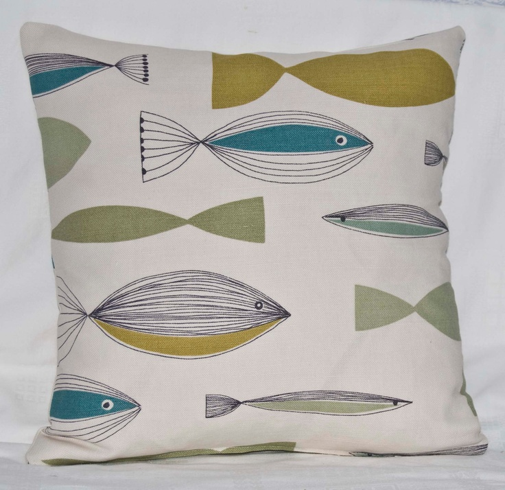 "Handmade 16ins Cushion/Pillow Cover in John Lewis UK Retro 1950's Fish/Nautical Green and Blue on Creamy Background Design Fabric "": Background Designs, 16Ins Cushion Pillow, Cushion Covers, Throw Pillows, Cushion Pillow Cover, 1950 S Fish Nautical, Fish Nautical Green, Design Retro"