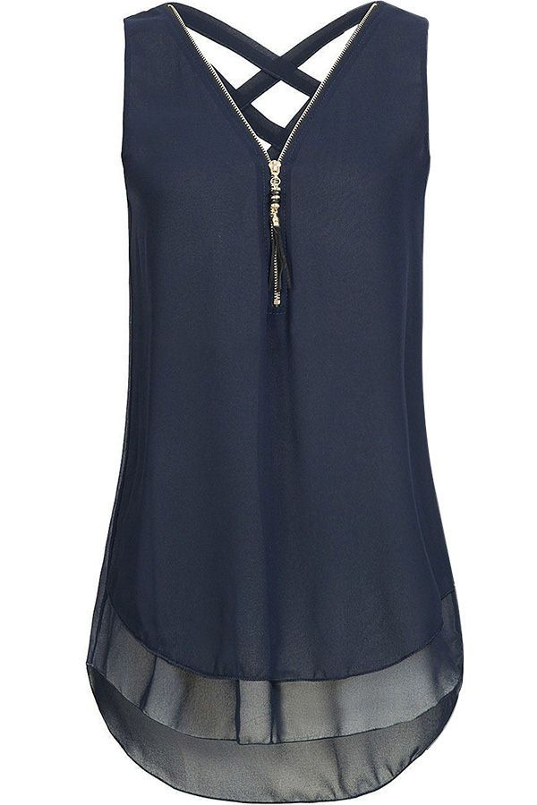 Women Dark-blue V Neck Crisscross Fringe Zipper Sleeveless Casual Chiffon Blouse – S