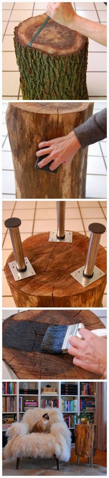 How to Make a Tree Stump Table | A 1 Nice Blog #CraftsDIYSerendipity #crafts #diy #projects #tutorials Craft and DIY Projects and Tutorials: