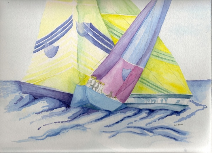 DESCRIPTION: Ann Harris A stylised watercolour, using bright colours and patterns to create the atmosphere of a sailing race at sea. The shield shapes on the sails correspond with the stern of the yacht. Approx picture size quoted below, is unframed size. £100.00