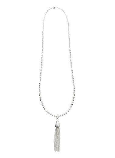 Feature tassel chain necklace. Chain Length 80 cm. Metal.