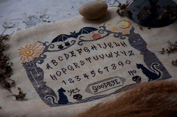 NEW Witch Board : Cottage Garden Samplings cross stitch patterns sampler Ouija Board October Halloween Autumn hand embroidery