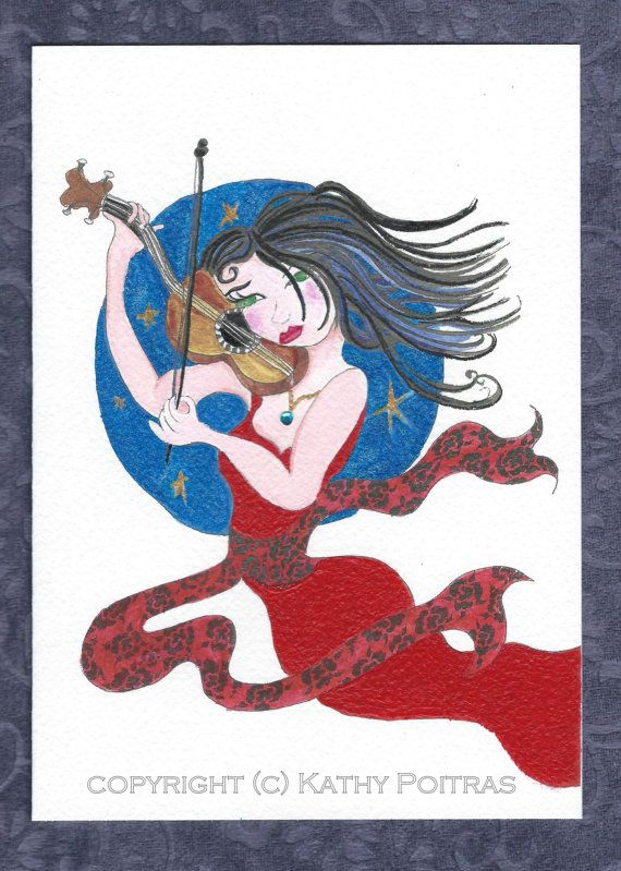 Whimsical girl playing violin flying. red sparkly by PiskyArt
