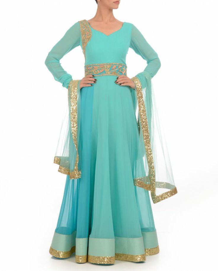 Turquoise & Aqua Blue Anarkali