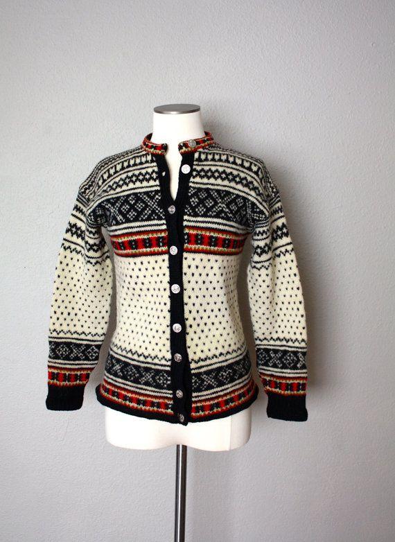 Vintage Wool Fair Isle Cardigan by fringebetty on Etsy