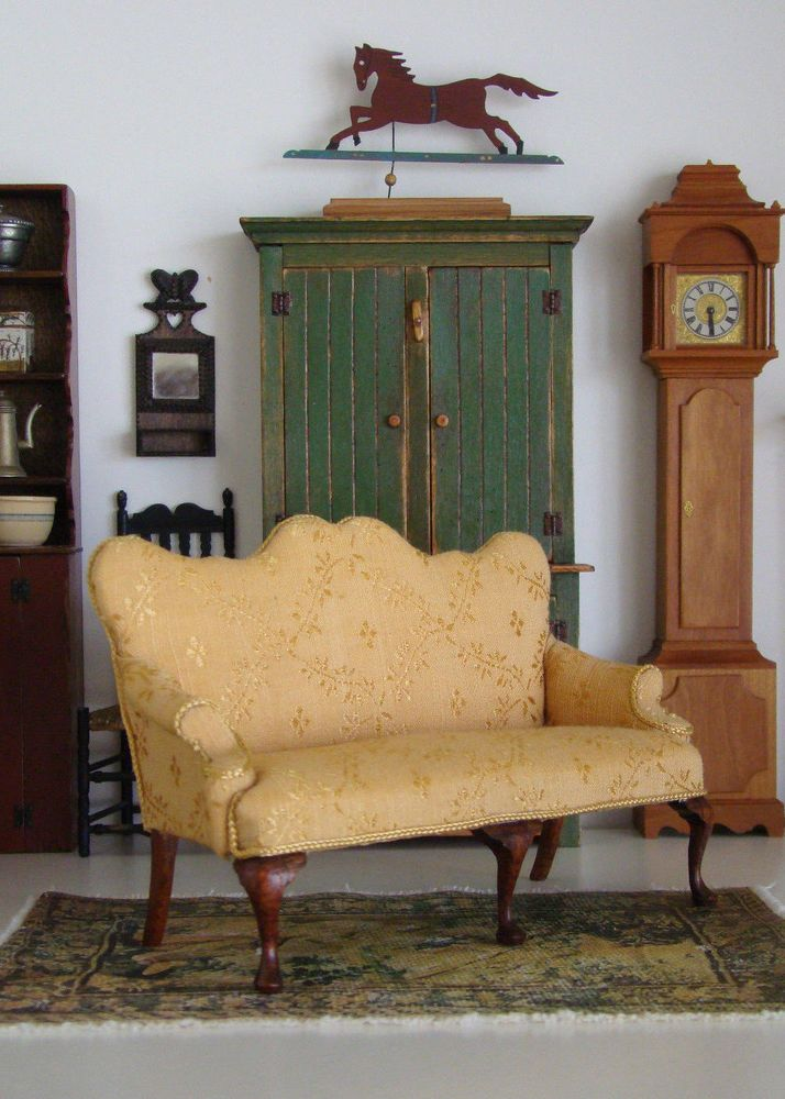 Vintage Artisan Miniature Early American Sofa Signed