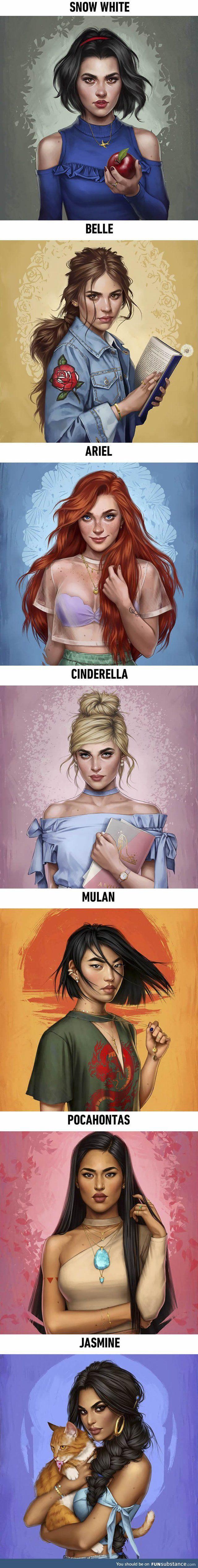 Disney princesses as modern day girls living now