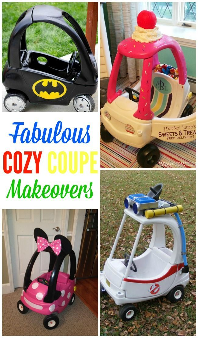 The red and yellow cozy coupe is a rite of passage for all kids, but why not make it more exciting with one of these fabulous cozy couple makeovers?