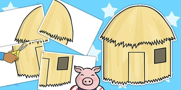 The Three Little Pigs Large A2 Straw House Cut Out - cut out, pig