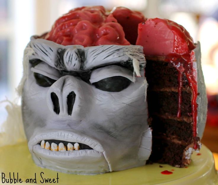 """Monkey Brain Cake with Jelly Brain Tutorial from Bubble and Sweet (""""It is inspired by a scene in Indiana Jones where they served chilled monkey brains..."""")"""