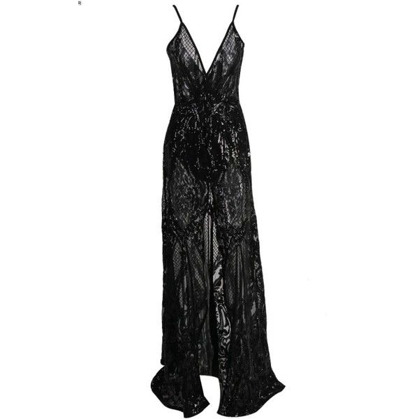 Honey couture alina black 3d crystal lace effect evening gown dress ($289) ❤ liked on Polyvore featuring dresses, gowns, sexy long evening dresses, sexy lace dress, long gown, long dresses and sexy long evening gowns